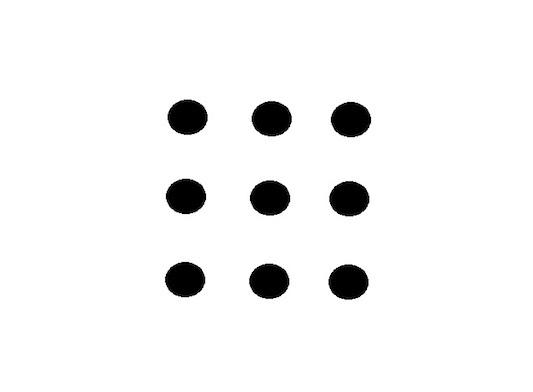 como puedo unir 9 puntos con 4 lineas rectas