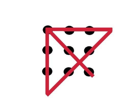 acertijo de unir 9 puntos con 4 lineas